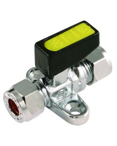 Mini Gas Ball Valve 8mm x 8mm - with Foot Plate